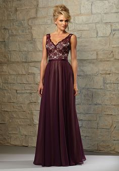 Lace Bodice Bridesmaid Dress with Chiffon Skirt over Nude Lining by Madeline Gardner. Available in all Morilee Bridesmaids Solid Lace Colors or Solid Lace over Nude Lining as shown. Shown in Eggplant/Nude.