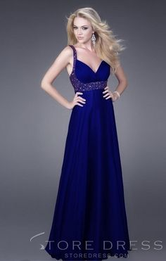 Elegant And Sexy A-line V-neck Beaded Straps Empire Skirt New Prom Dress L15 at Storedress.com