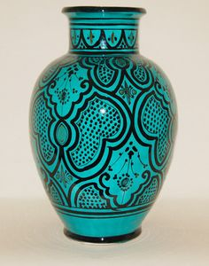 Moroccan Green Ceramic Pottery Vase with Traditional Safi Design