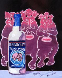 Beer Painting of Delirium Nocturnum by Huyghe Brewery in Belgium. Year of Beer Paintings by Scott Clendaniel - Day 301.