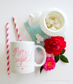 """More Sugar!"" coffee mug now available for PRE-ORDER in the Online Shop! // props styling"