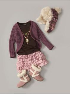 Adorable outfit / ruffle skirt / sweater / shirt / boots / hat / pink / purple