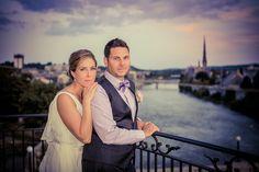 sunset river view, Galt, Cambridge Mill, bride, groom, purple accent colours, purple bow tie, Juliet balcony, Cambridge, Ontario, Canada wedding photography experts | Anne Edgar Photography