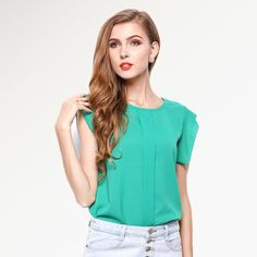 [VIAONS] 2016 New Candy Colors Women Blouses Sleeveless Chiffon Vest Solid Women Shirts WE015