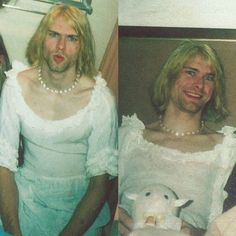 Kurt Cobain wearing a dress and pearl necklace :) Photographs by Courtney Love, 1992