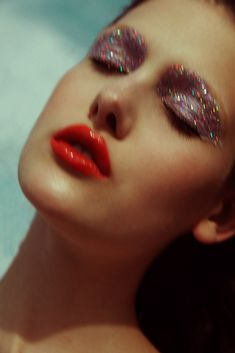 Glitter Makeup Creative Graphic Eyeshadow Dewy Skin Beauty Images Vanidad Magazine Emily Page Model | NEW YORK FASHION BEAUTY PHOTOGRAPHER- EDITORIAL COMMERCIAL ADVERTISING PHOTOGRAPHY