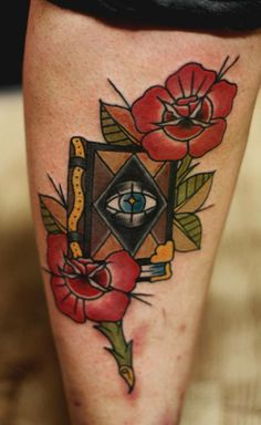 all seeing, all knowing...  #traditional #tattoo #book #allseeingeye #roses #oldschool #ink #hammersmithtattoo #westlondon #london #noodles_tattoo