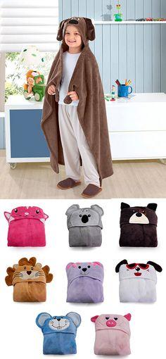 d7bdedf417 Manta com capuz com diversas opções de touca para a criançada. Produto  disponivel nas lojas