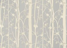 Cottonwood Leaf Metallic Wallpaper, Silver by Laura Ashley