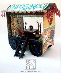 Miniature Gypsy Caravan / Fortune Tellers Wagon by PixieHillStudio