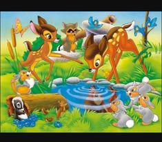 Bambi Disney, Bambi And Thumper, Disney Cartoons, Disney Art, Disney Movies, Walt Disney, Bambi 3, Ravensburger Puzzle, Disney Animation