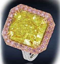 5 ct Yellow Cushion Pink Halo Jewelry Engagement Ring 925 Sterling Silver Cz New #NIKI #Solitair #Party