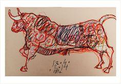 DESSIN   -Taureau Bull Corrida - PLANCHE ORIGINALE  Daté Signé SZABO 2014