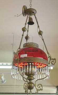 ELABORATE VICTORIAN RUBY GLASS AND DROPLET HANGING CEILING FIXTURE