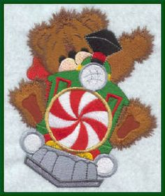 Threadsketches' Bearly Christmas, Christmas embroidery designs, bear on train