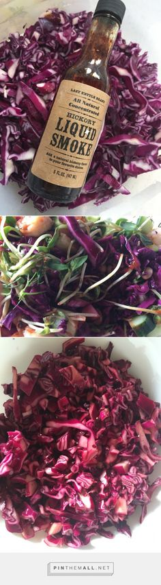 Smokey Cabbage Slaw. Secret ingredient is the Liquid Smoke. Super easy to make, low calorie, healthy and many variations of salads you can make with this! Great party salad. Visit pinkspantry.com