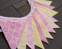 Pink & Yellow Lemonade Stand Fabric Bunting Pennant Banner for First Birthday Party, Nursery, Baby Shower, Bridal Shower or Photo Prop by MsRogersNeighborhood Etsy shop