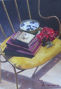 """things i love: place in the sun, good books, pretty flowers and chocolates"" - art- byAnnemarie"