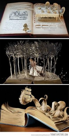 "Absolutely wonderful artistry of Su Blackwell, ""Book-Cut Sculpture""; made from the pages of books, Depicted is a sculpture from the book, ""The Girl In The Wood"" -The full portfolio is AMAZING! A lot of the works are lit (So yeah. Altered Books, Altered Art, Arte Sketchbook, Drawn Art, Illustration, Wow Art, 3d Prints, Old Books, Art Plastique"