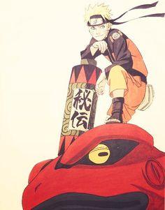 Naruto on top of his summouning.
