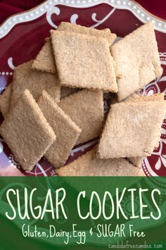 uses oat flour - need to substitute. Sugar-Free Sugar Cookies, Gluten, Dairy, Egg and Sugar free. Delicious with a great flaky texture. So pretty with the icing! Sugar Free Deserts, Low Sugar Desserts, Diet Desserts, Gluten Free Sweets, Gluten Free Baking, Vegan Gluten Free, Dairy Free, Healthy Baking, Paleo