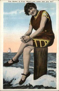 """BATHING BEAUTY Woman on Post """"Water is Fine"""" c1920 Postcard"""