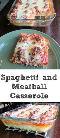 Spaghetti and Meatball Casserole This casserole is like spaghetti and meatballs, but even better! With a creamy, cheesy spaghetti layer, lots of little meatballs, plenty of sauce. Of course the fact that it is topped with a nicely browned mozzarella laye Baked Spagetti, Baked Spaghetti And Meatballs, Cheesy Spaghetti, Spaghetti Casserole, Spaghetti Recipes, Pasta Recipes, Dinner Recipes, Dinner Ideas, Cheese