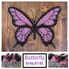 DIY String Art Kit - Purple Butterfly, String Art Crafts Kit for Adults Craft Projects For Adults, Arts And Crafts For Adults, Easy Arts And Crafts, Arts And Crafts Projects, Crafts For Kids, Art Crafts, Resin Crafts, Butterfly Kit, Butterfly Crafts