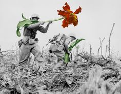 Historical Black-and-White War Photographs with Giant Flowers. The flower symbolises life and the war scene symbolises death. Art Du Collage, Mixed Media Collage, Vintage Photographs, Vintage Photos, Vintage Ads, War Image, Ex Machina, French Artists, Make Art