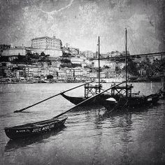 Rabelo boat, Porto, 2013. iPhone5.    The Portuguese Rabelo boat is a typical boat of Douro river, that traditionally carried the casks of Port from the region of Alto Douro, where the vineyards are located, to Vila Nova de Gaia - Porto, where the wine wa