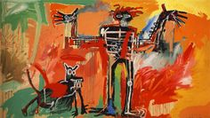 Page: Boy and dog in a Johnnypump Artist: Jean-Michel Basquiat Completion Date: 1982 Style: Neo-Expressionism Genre: figurative painting Technique: acrylic, crayon, spray paint Material: canvas Dimensions: 240 x 420.5 cm Gallery: Private Collection