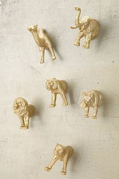 #diy urban outfitters gold animal magnets