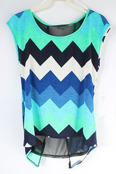 Mint and Blue Top