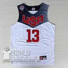 Camisetas Baloncesto Usa 2014 #13 Harden Blanco €21.9