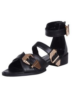Shop Leather Ankle Strap Sandals with Chunky Buckle Detail from choies.com .Free shipping Worldwide.$88.99