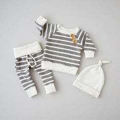 US Newborn Baby Boys Girls Top T shirt+Pants+Hat Striped Outfits Cotton Clothes Baby Outfits Newborn, Baby Boy Newborn, Baby Boy Outfits, Newborn Fashion, Trendy Baby Clothes, Unisex Baby Clothes, Clothes Sale, Dress Clothes, Baby Set
