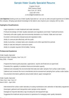 sample water quality specialist resume