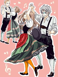 PruHun and Gerita<<<I love Prussia's face when he sees the frying pan and how Italy is in a dress.