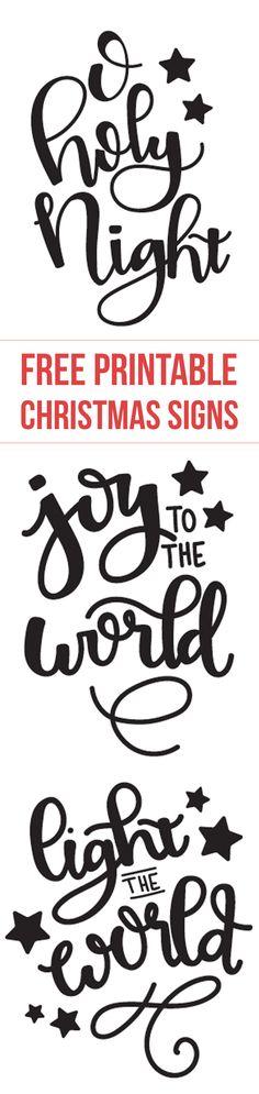 Free printable Christmas designs -O Holy Night - Joy to the World - Light the world