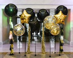 Black-clear-gold-foil-star-big-balloon-tassel-garland-rarty-photozone - Decoration For Home Balloon Centerpieces, Balloon Decorations, Balloon Tassel, Tassel Garland, Best Birthday Surprises, Black And Gold Balloons, 50th Birthday Decorations, Big Balloons, Gold Birthday