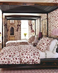 Chinoiserie Bedroom with canopy bed and an overload of floral pattern - CHARLOTTE MOSS - HOUSE AND GARDEN