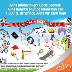 Haydi eğlence başlasın! Kıbrıs Şehitleri Alins Hatırası önünde en eğlenceli fotoğrafı çek, 1.000 TL nakit yüklü Alins VIP kartı kap :)