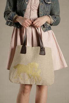 Linen, Leather, and Gold Wild Horses Bag