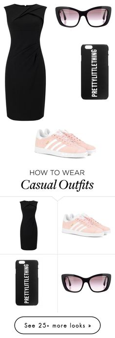 """casual dress style"" by michellehoekstra on Polyvore featuring Adrianna Papell, adidas Originals and Miu Miu"