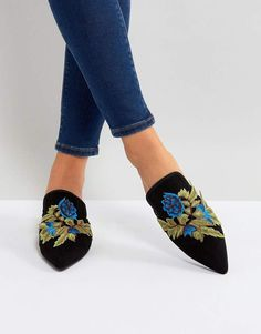 c3db40043897 Glamorous Floral Embroidered Pointed Mules. beautifulmule  colorfulmule   beautifulwomensflats  womenflatshoes Embroidery Fashion
