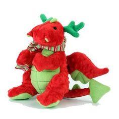 GoDog Holiday Dragons Dog Toy - Red