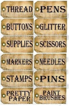 Items similar to 12 Sewing Room Studio Supplies Tags - label Uprint thread Digital Sheet storage supply button paper vintage organize on Etsy Sewing Hacks, Sewing Crafts, Sewing Projects, Organizing Sewing Rooms, Sewing Room Storage, Craft Organization, Craft Storage, Sheet Storage, Arts And Crafts