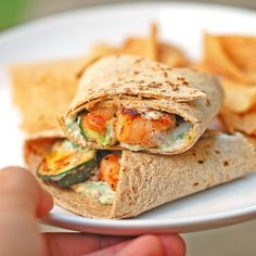 This garlic shrimp and zucchini wrap has sauteed garlic shrimp stuffed into a whole wheat tortilla with grilled zucchini. A perfect and simple lunch.