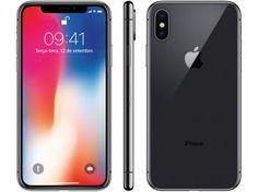 "iPhone X Apple 64GB Cinza Espacial 4G Tela 5,8"" - Retina Câm 12MP + Selfie 7MP iOS 11 Proc. Chip A11"