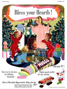Vintage Christmas Ad ~ Necco Wafers ~ Used to love to get these from a little candy store by the park in the town both sets of my Grandparents lived in.
